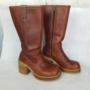 FRYE Dena Leather Stacked Cognac Boots